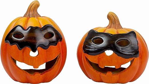 Gardens2you 2x Halloween Deko Grosser Kurbis Mit Maske Teelicht Halter Mit Led Licht Aus Keramik Amazon De Kuche Haushalt