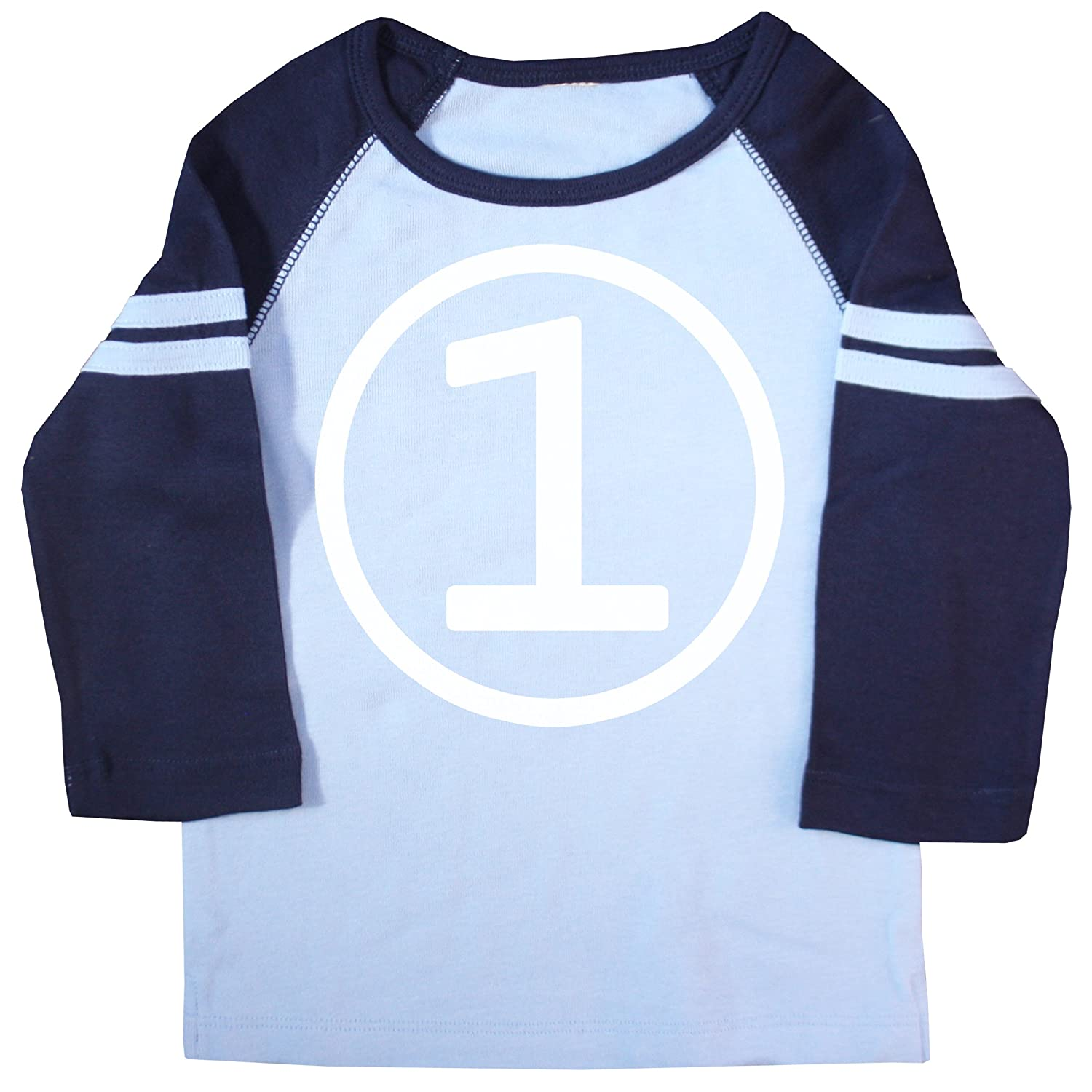 Size 2T First Birthday 3//4 Sleeve Baby Boy Light Blue and Navy American Apparel T Shirt
