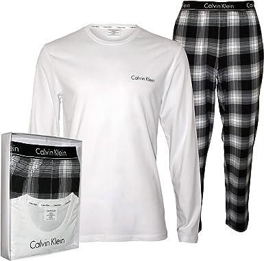 Calvin Klein Jersey Y Los Hombres De Franela Cepillada Pijama Set De Regalo, Blanco/Negro