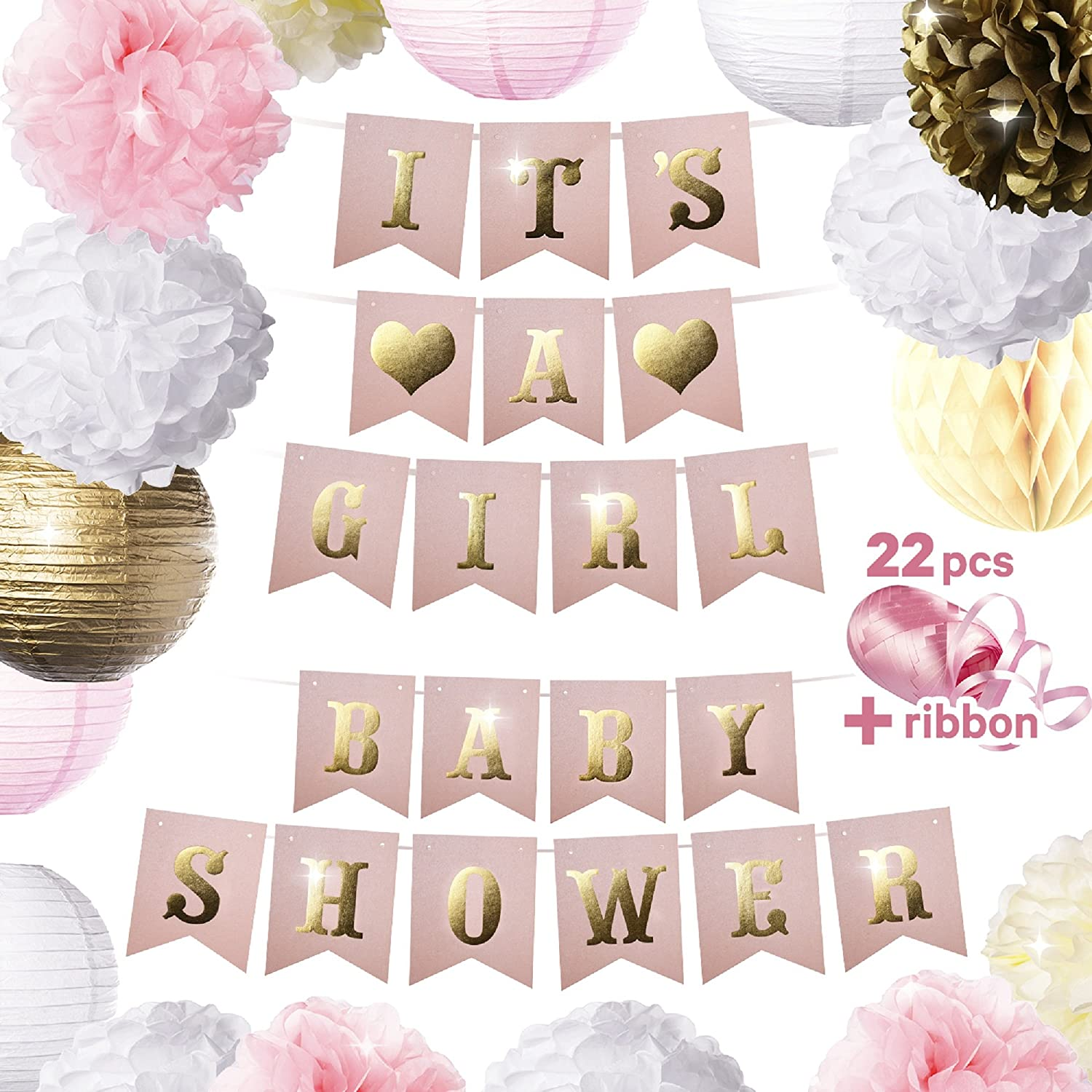 . 22 PCs Baby Shower Decorations for Girl   ITS A Girl Baby Shower  Decorations Kit   Cute Pink   Gold