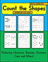 Count the Shapes Worksheets for Boys and Girls | Digital Download Featuring Unicorns, Bunnies, Gnomes, Cars and More! |...