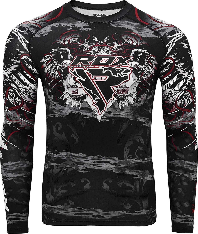RDX MMA Rashguard Chemise de Compression Debardeur Manche Longue Sport Combat Rash Vest