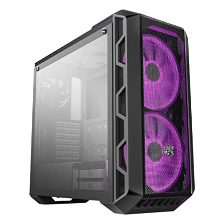 Cooler Master MasterCase H500 ATX Mid-Tower w/ Tempered Glass Side Panel, Transparent/ Mesh Front Option, Carrying Handle & 2x 200mm RGB Fans w/RGB ...