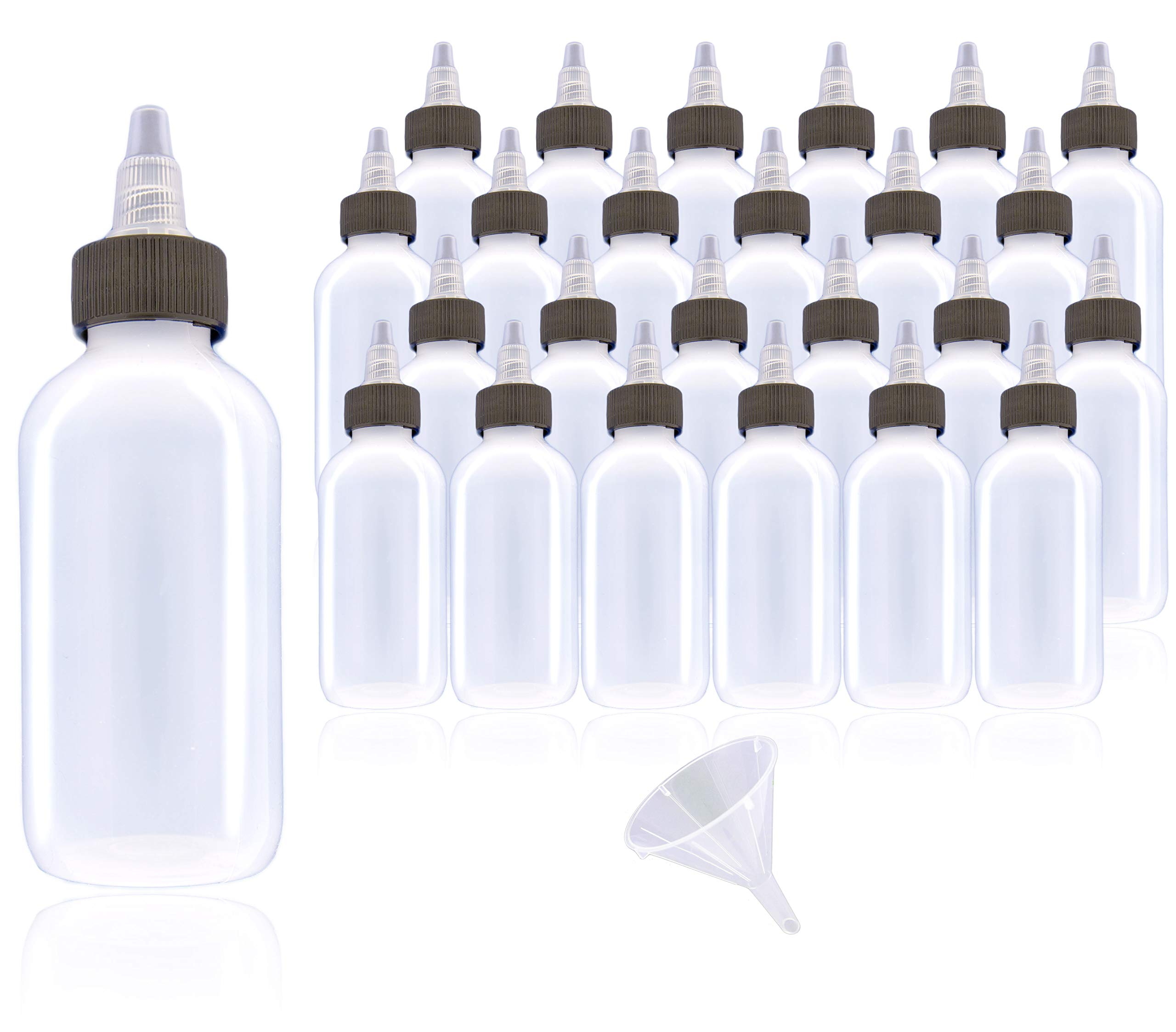 2oz Rollander Boston Round LDPE Small Plastic Squeeze Bottle Vape Juice Bottle 60ml Twist Top Cap Plus Easy Pour Funnel (2 oz (60ml), 25)
