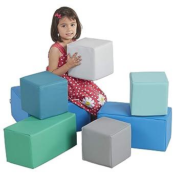 ECR4KIDS ELR-0832F-ET ECR4Kids Softzone Foam Big Building Blocks 7-Piece Earthtone Soft Play Set for Kids