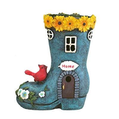 """Boot""""Home"""" Garden House Outdoor Decor with Solar Lights, Bird and Decorative Flowers by Bo Toys: Home Improvement"""