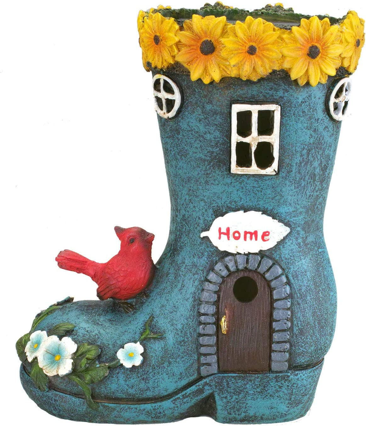 """Boot""""Home"""" Garden House Outdoor Decor with Solar Lights, Bird and  Decorative Flowers by Bo Toys"""