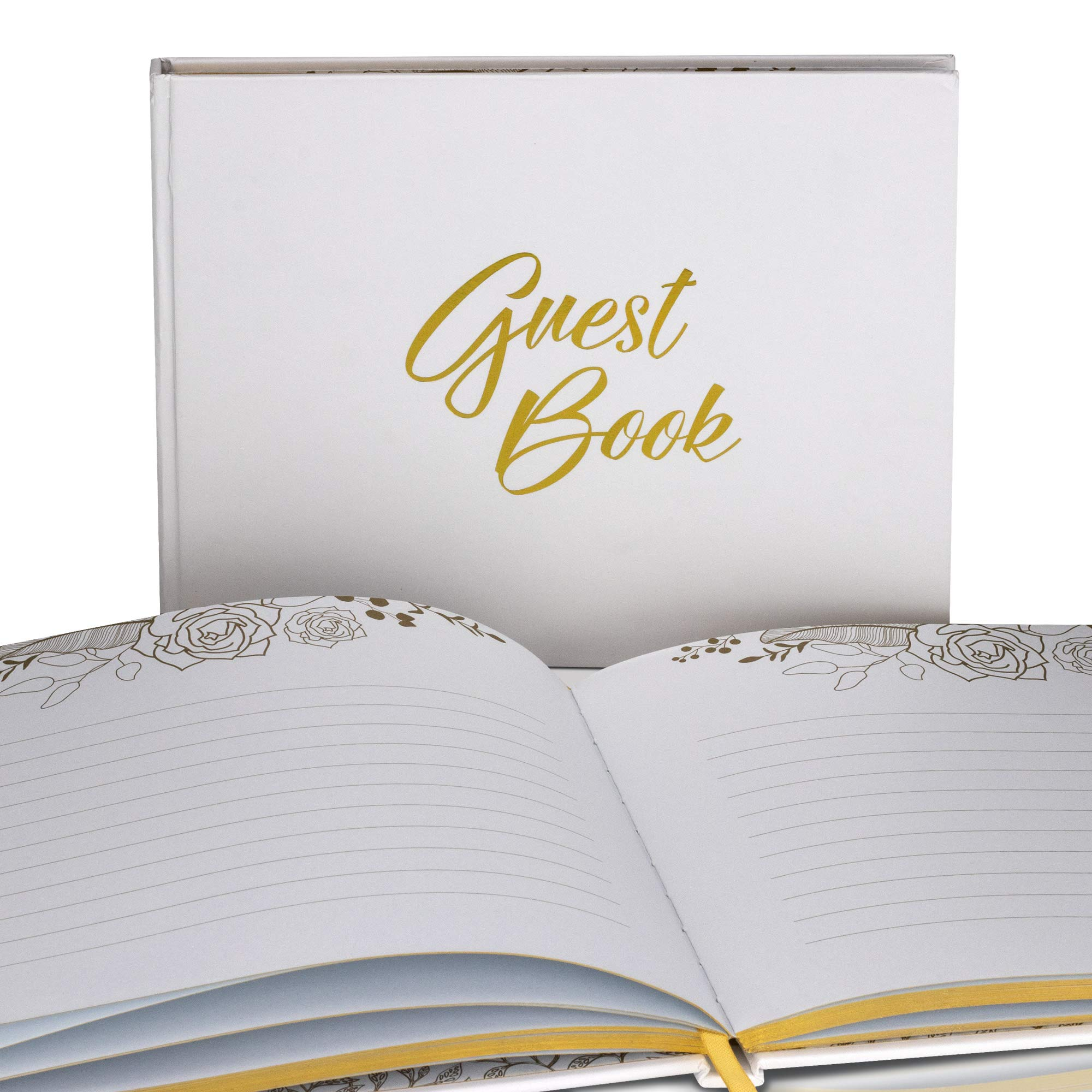 Unique Wedding Guest Book with Rustic Trim and Gold Stamped Foil Set by VisuartPRO