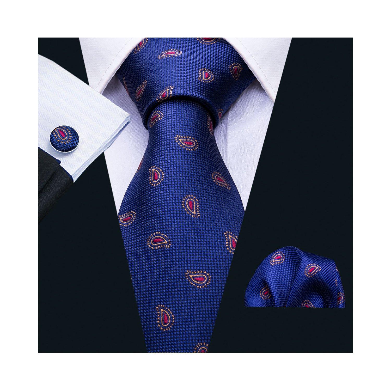 Blue and Red Tie Set Woven Paisley Handkerchief Cufflinks