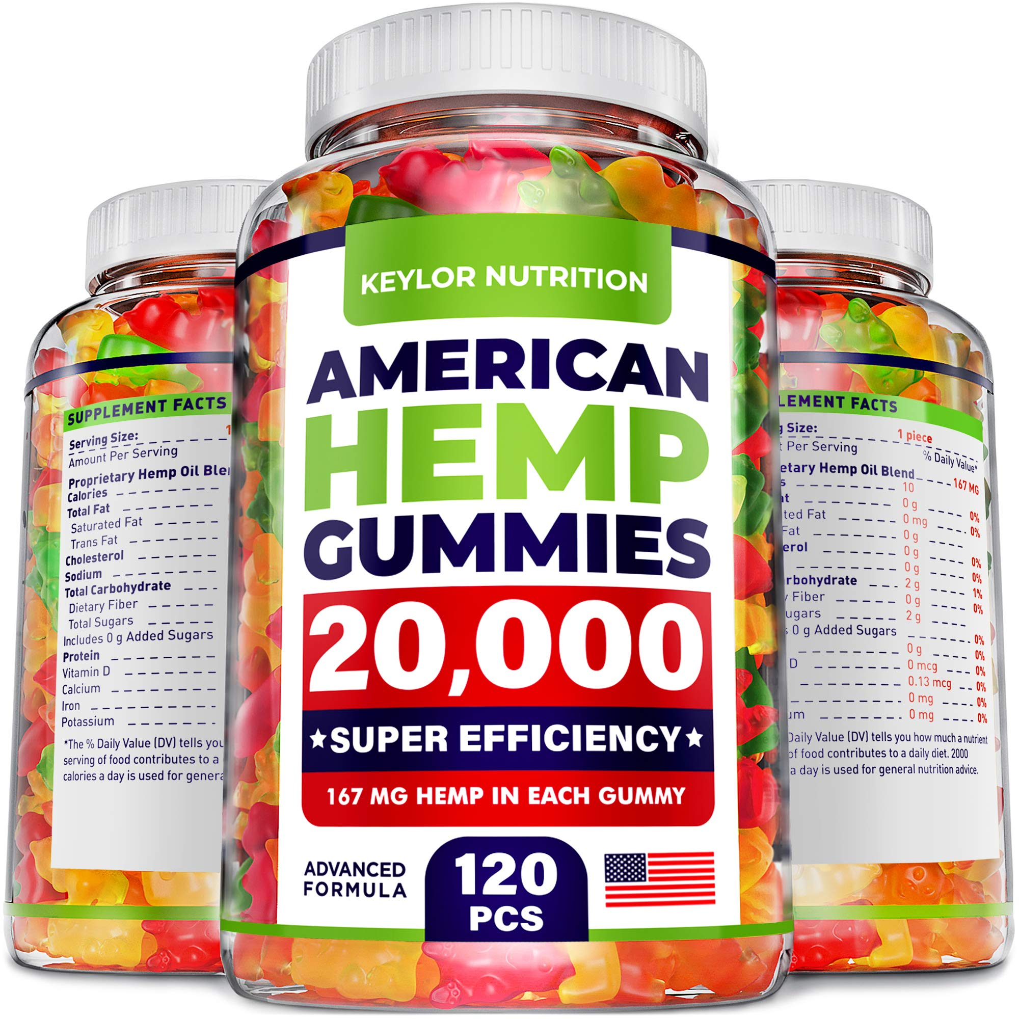 Keylor Nutrition Hemp Oil Gummies - 20,000 MG - Made in USA - Relief for Stress, Inflammation, Sleep, Anxiety, Depression - All-Natural Ingredients - Hemp Gummies with Omega 3-6-9 CO2 Extraction by Keylor Nutrition store
