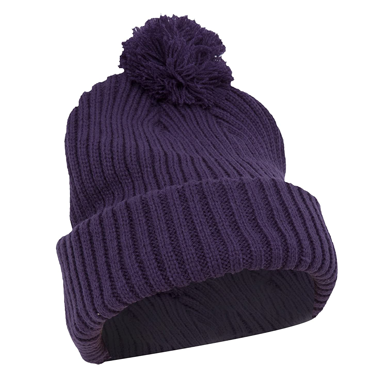 Damen Strickmütze / Thermo-Mütze / Wintermütze / Ski-Mütze mit Bommel, Grobstrick