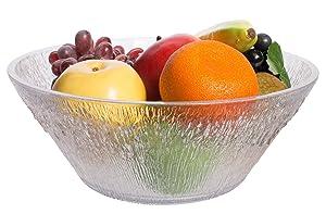 Break Resistant Clear Plastic Fruit and Salad Bowl, Large (3 1/2 Qt)