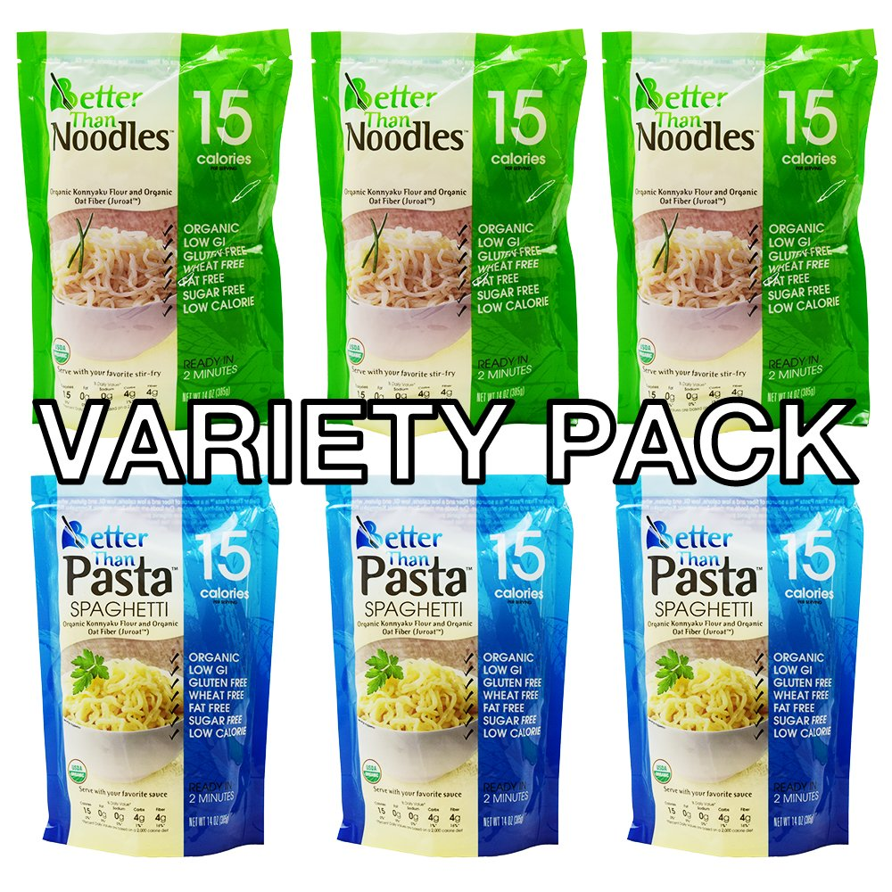 Better than foods (3 Pasta, 3 Noodle) Variety pack, Vegan, Gluten-Free, Non-GMO, Konjac, Shirataki (6 pack/84oz)
