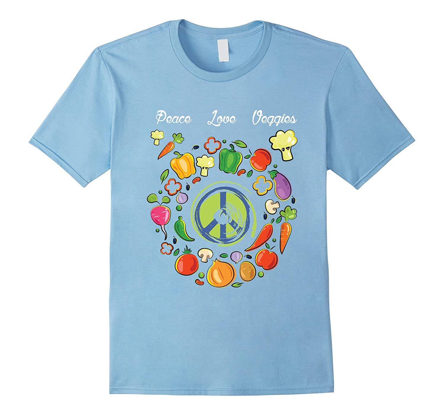 """Peace Love Veggies"" Retro Vegetable Lover Cute Vegan Gift T"