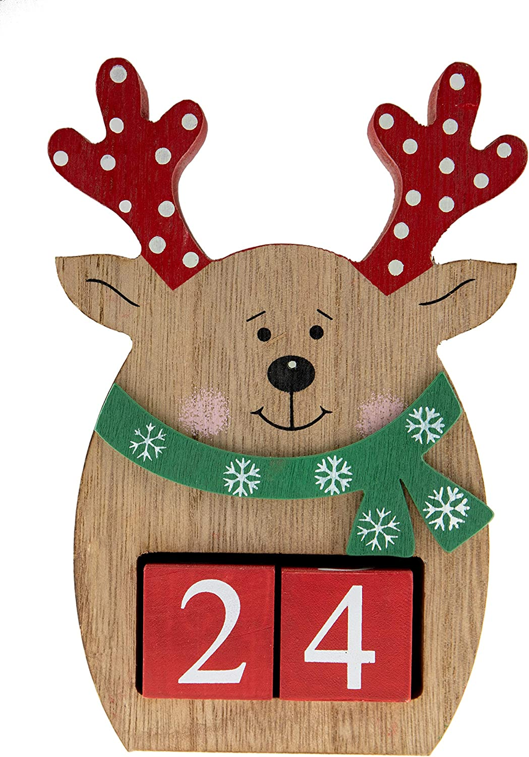Clever Creations Wooden Christmas Advent Calendar, Countdown to Christmas, Festive Holiday Decoration, Round Reindeer
