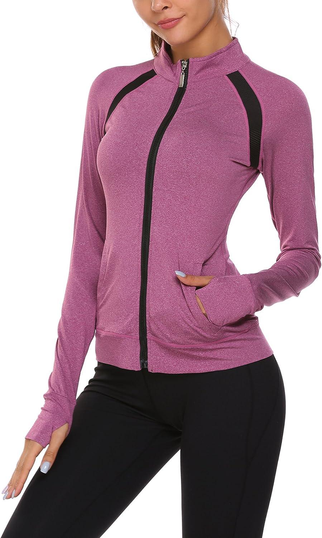 Ekouaer Women's Athletic Track Jacket Full Zip Stretchy Yoga Running Jacket  with Thumb Holes at Amazon Women's Clothing store