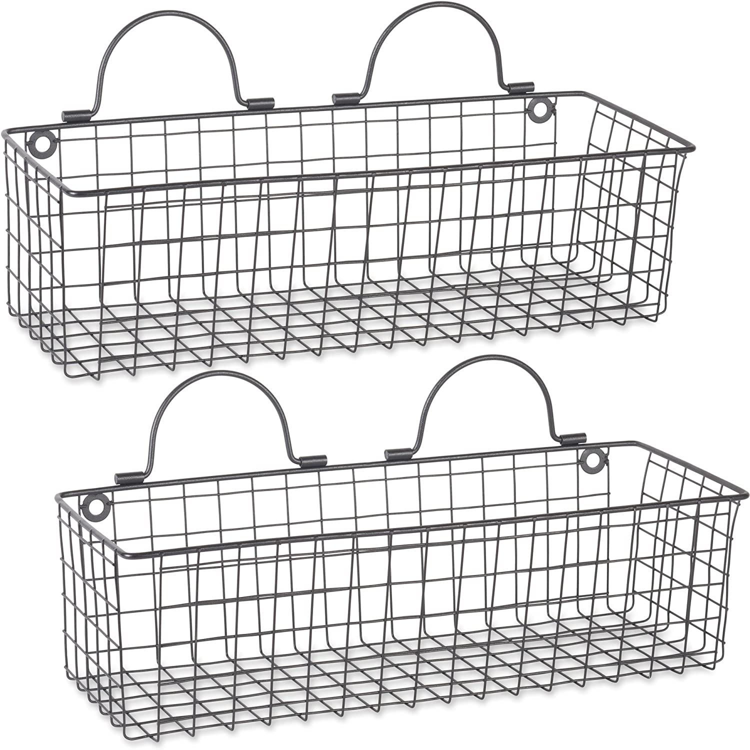 DII Rustic Farmhouse Vintage Hanging Wall Mounted Wire Metal Basket, Set of 2 Medium, Black