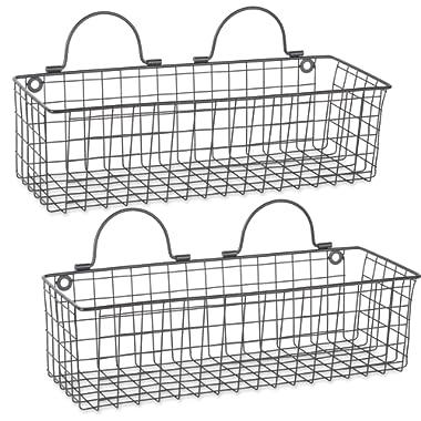 DII Z02024 Rustic Farmhouse Vintage Hanging Wall Mounted Wire Metal Basket Set of 2 Medium Black