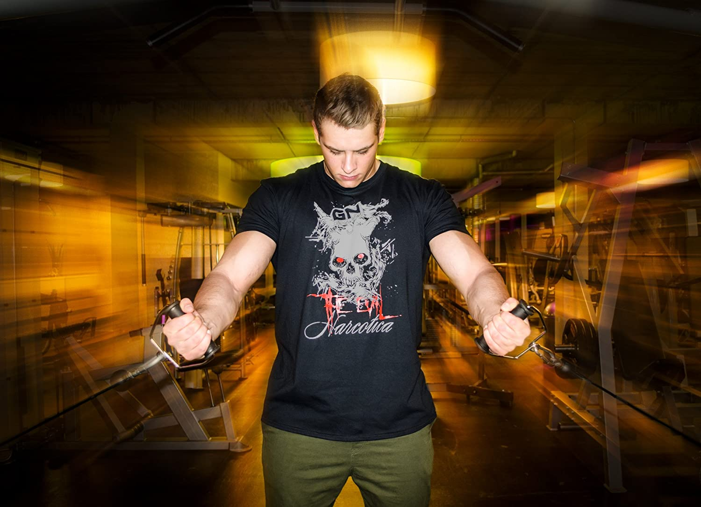 GN Laboratories Narcotica The Evil T-Shirt Schwarz Bodybuilder Fitness Shirt Damen Herren Workout Gymshirt Trainingsshirt