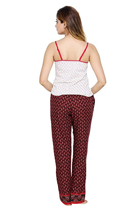 PDPM Women s Rayon Pajama and Cotton Lycra Slip Camisole Combo Night Pyjama  Night Lower Loungewear Nightwear  Amazon.in  Clothing   Accessories fbda0df45