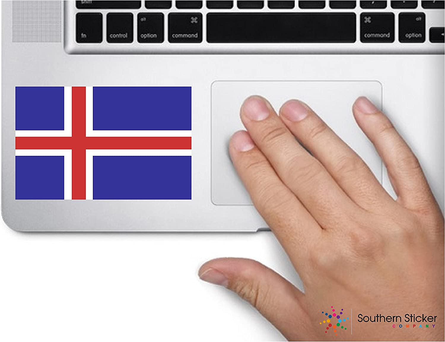 ExpressDecor Country flag Iceland 4x2.5 inches funny stickers for construction hard hat pro union working men lunch box tool box symbol window motorcycle biker car - Made and shipped in USA