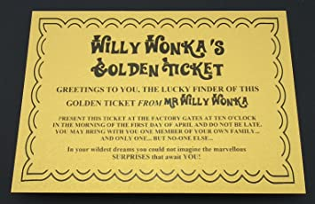 Willy Wonka Golden Ticket The For A Party Pack Or To Hide In A Chocolate Bar Great Fun For Book Day Delightful For Roald Dahl Day