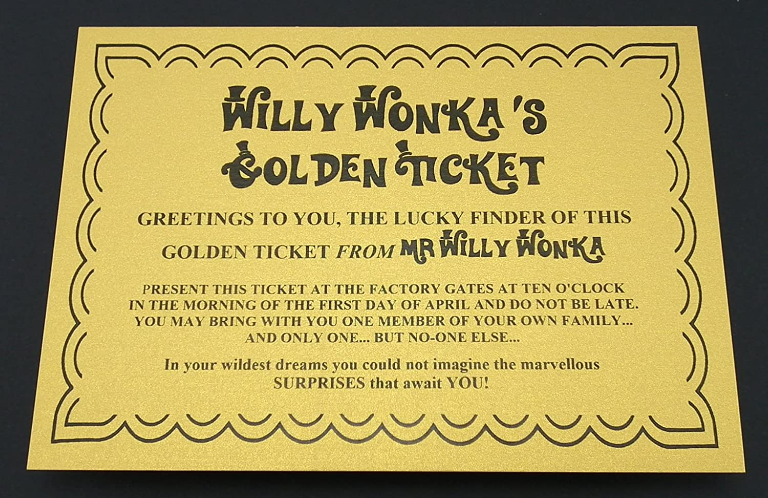 7 oz sized Willy Wonka Chocolate Bar wrapper with Golden Ticket ...