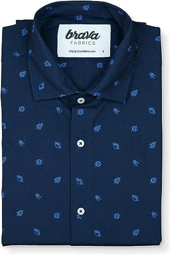 Brava Fabrics | Camisa Hombre Manga Larga Estampada | Camisa Azul para Hombre | Camisa Casual Regular Fit | 100% Algodón | Modelo Trip To Saturn