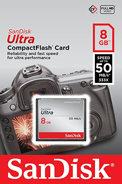 SanDisk Ultra 8GB CompactFlash Memory Card Speed Up To 50MB/s- SDCFHS-008G-G46