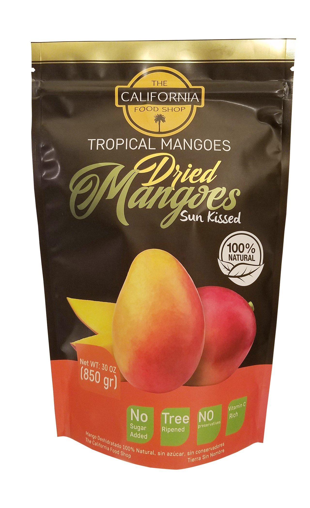 The California Food Shop All Natural Unsweetened Dried Mangoes 30 oz (850 gr)Pack Tropical Dried Mango Fruits Healthy and Delicious Snack No Added Sugar or Chemicals by The California Food Shop