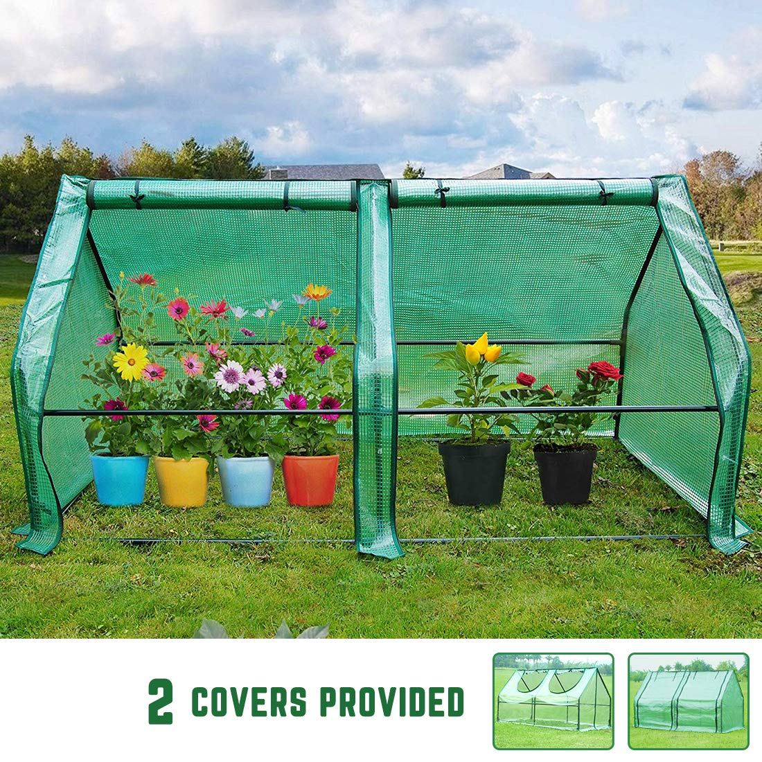Quictent 71'' WX 36'' D X 36'' H Portable Cloche Mini Greenhouse PVC Transparent Cover and Reinforced PE Cover, Large Zipper Doors Garden Green House - 50 Pcs T-Type Plant Tags Included by Quictent