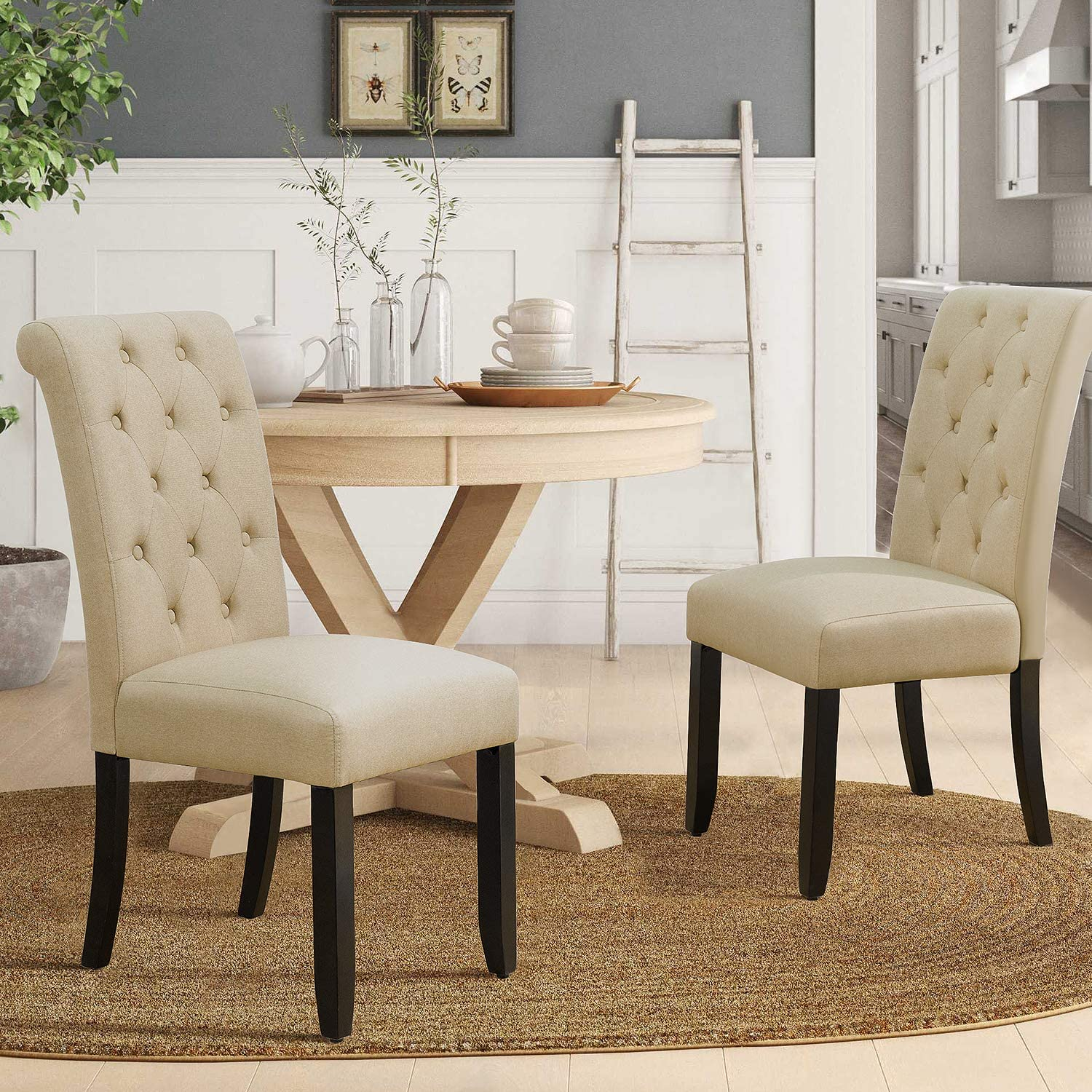 Amazon Com Furmax Dining Chairs Luxurious Tufted Fabric Parson Chair Side Chair With Solid Wood Legs Tall Back Set Of 2 Beige Chairs