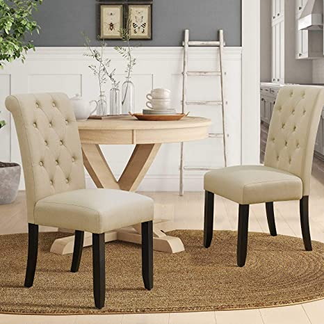 Enjoyable Furmax Dining Chairs Luxurious Tufted Fabric Parson Chair Side Chair With Solid Wood Legs Tall Back Set Of 2 Beige Andrewgaddart Wooden Chair Designs For Living Room Andrewgaddartcom