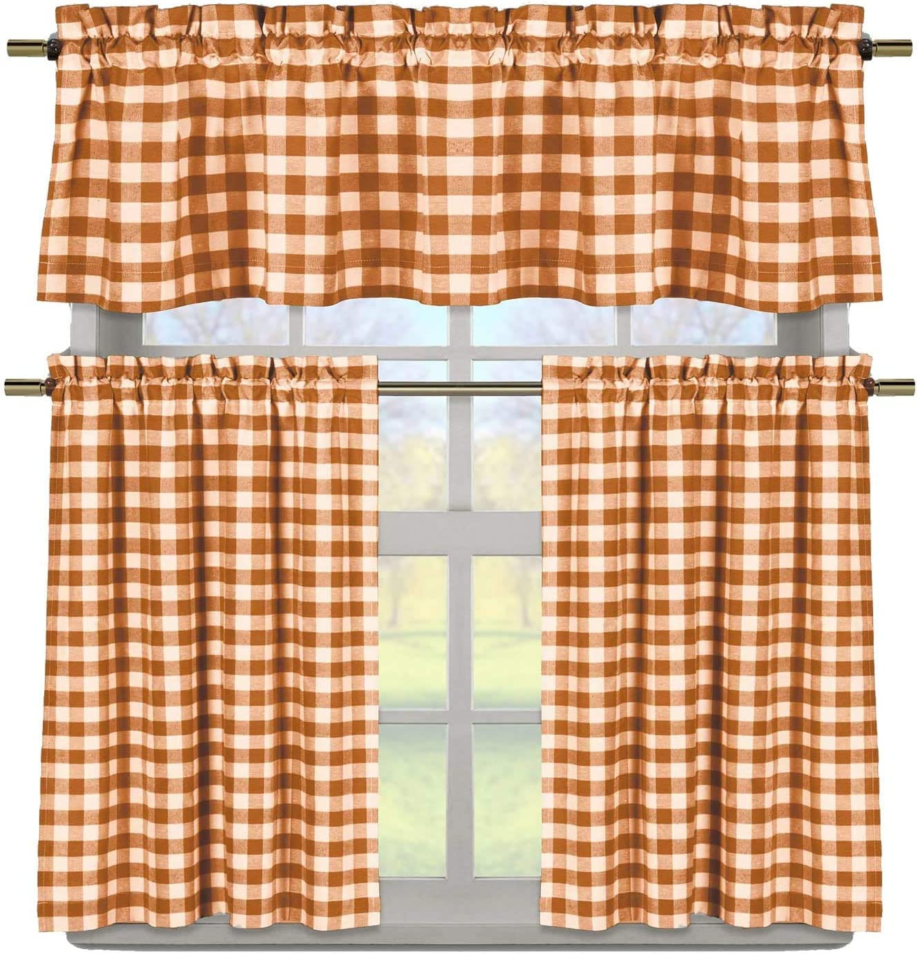 3 Piece Plaid, Checkered, Gingham 35 Cotton Kitchen Curtain Set with 1 Valance and 2 Tier Panels Orange