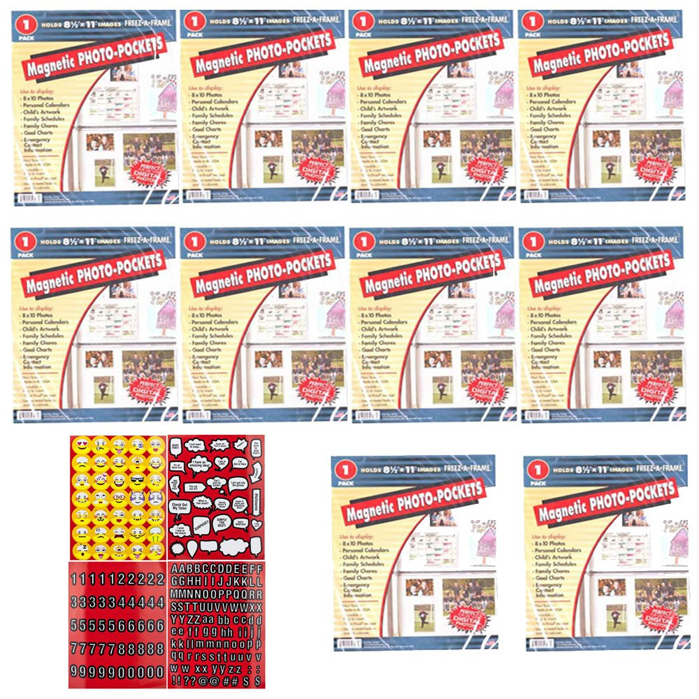 Freez A Frame Magnetic 8.5-Inch x 11-Inch Photo Frame Pack of 10 + Scrapbooking Stickers 4 Pages of Emojis, Quotes, Letters & Numbers - Super Bundle by Freez A Frame (Image #1)