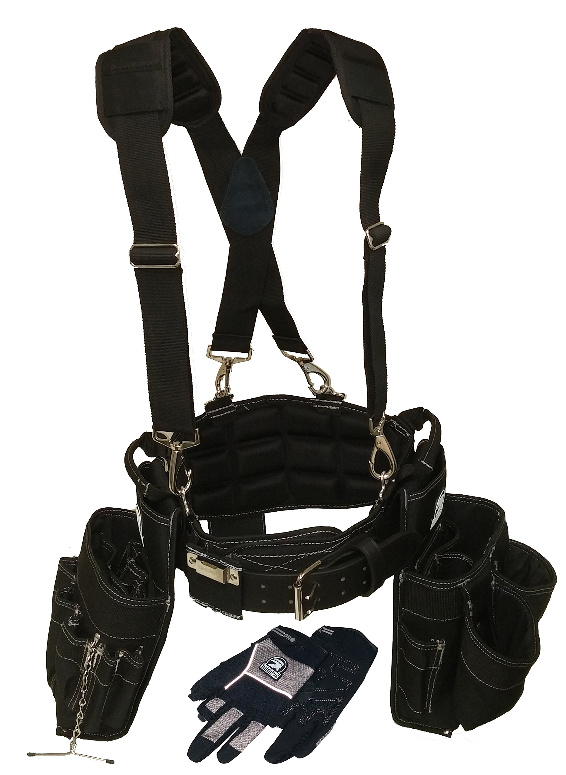 Gatorback Electricians Combo Deluxe Package (Tool Belt, Suspenders, Gloves, Bucket Tote) Ventilated Back Support Belt w/ Suspenders and Extras. For Electricians, Carpenters, Framer (Large 35''-39'')