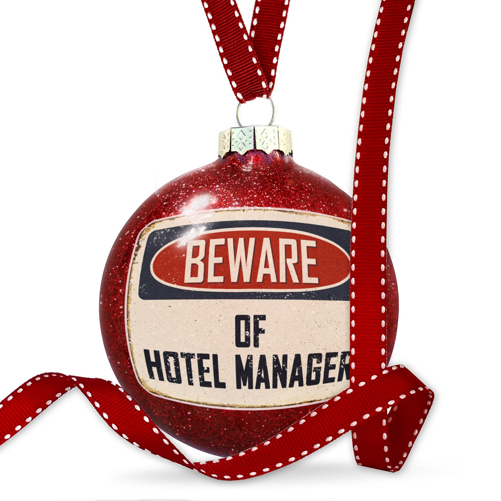 Christmas Decoration Beware Of Hotel Manager Vintage Funny Sign Ornament