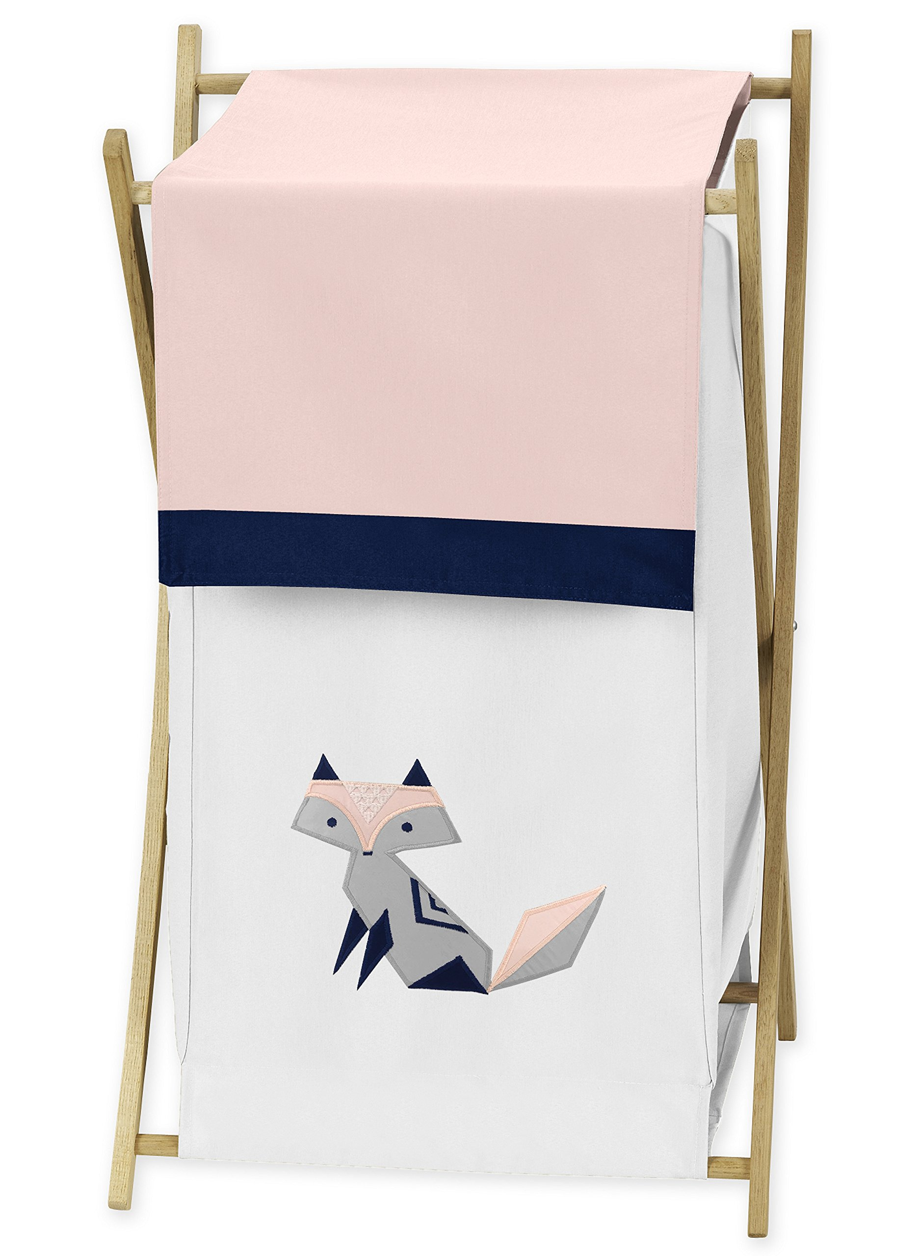 Sweet Jojo Designs Navy Blue, Pink, and Grey Baby Kid Clothes Laundry Hamper for Woodland Fox Collection by