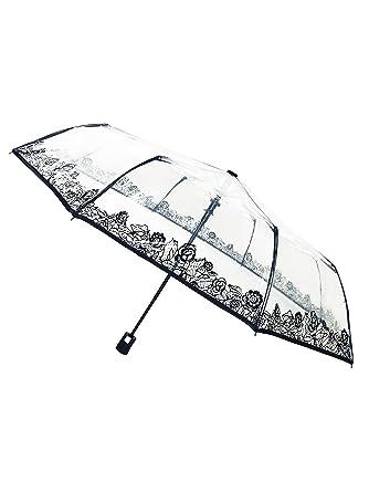 SMATI Clear Folding Umbrella - Compact - Automatic Open - Sturdy - Flowers (lace)
