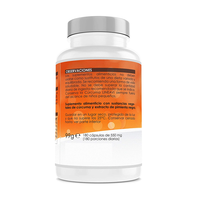 Cúrcuma LINEAVI | 400 mg de cúrcuma en polvo y 25 mg curcumina por cápsula | con extracto de pimienta negra (95% piperina) | fabricado en Alemania | 180 ...