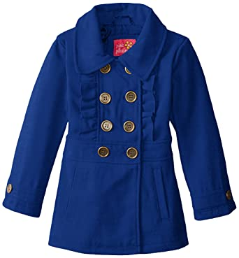 ee6786324 Amazon.com: Pink Platinum Girls' Faux Wool Peacoat with Ruffle: Clothing