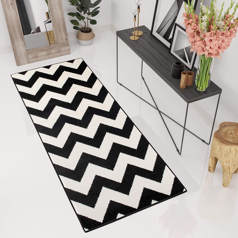 Tapiso Maroko Teppich L/äufer Meterware Kurzflor Flur K/üche Br/ücke Schwarz Creme Marokkanisch Geometrisch Karo Modern Design /ÖKOTEX 70 x 150 cm