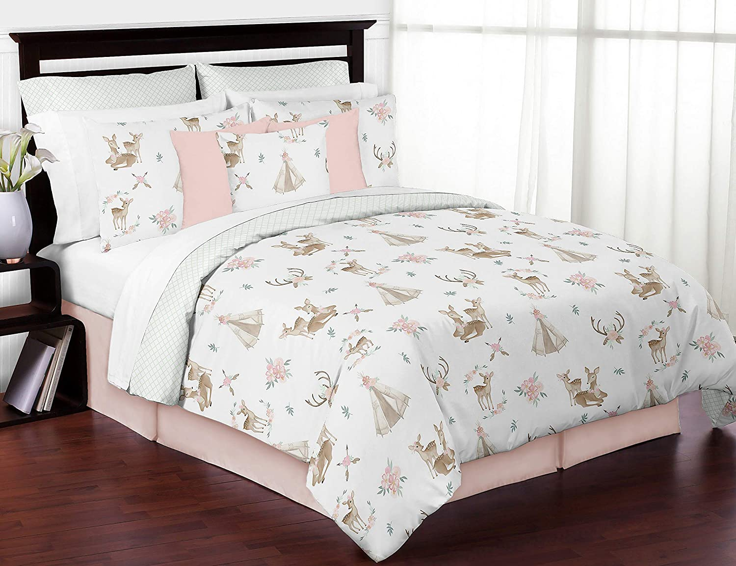 Sweet Jojo Designs Blush Pink, Mint Green and White Boho Watercolor Woodland Deer Floral Girl Full/Queen Kid Teen Bedding Comforter Set - 3 Pieces