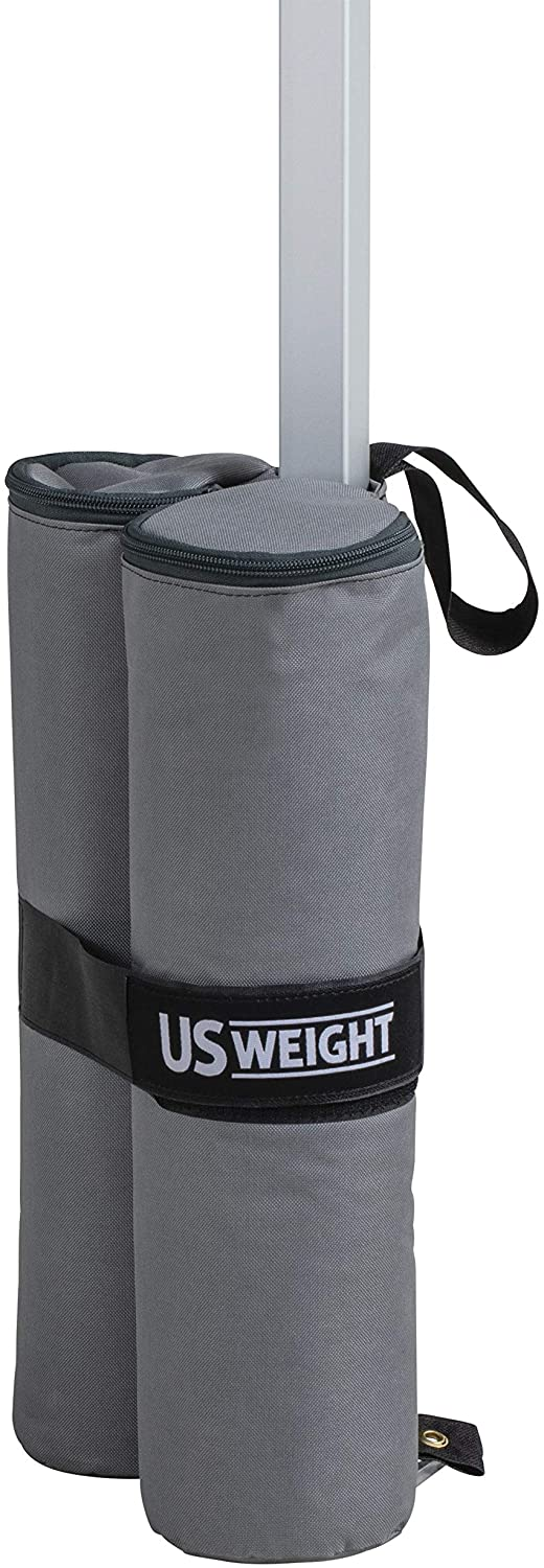 US Weight Titan Fillable Canopy Weight Bags 4-Pack with Reliable Zippers, Double-Bagged Design, Heavy Duty Thread and Box-Stitched Stress Points