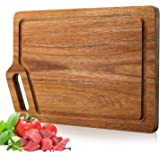 """Wood Cutting Board with Juice Grooves, Kitchen Acacia wooden Chopping Board Meat, Vegetables, Fruit & Cheese, As a Serving Tray with Grip Handles (Large (15.8 x 11""""))"""