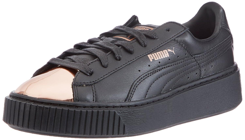 Puma Basket Platform Metallic, Zapatillas para Mujer 42.5 EU Negro (Black-rose Gold)