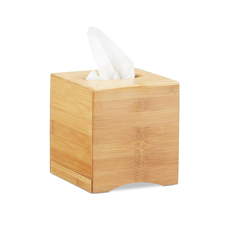 Relaxdays Distributeur à mouchoirs carré boîte lingette Maquillage Tissu Bois Bambou HxlxP: 15,5 x 14,5 x 14,5 cm, Nature 10022177
