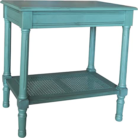 Urbanest Jamestown Side Table With Rattan Shelf Teal Amazon Co Uk Kitchen Home