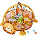 WYSWYG Stimulating Baby Play Mat - 3 in 1 Baby Gym with 4 Hanging Toys & 30 Balls - Infant Playmat for Tummy Time - Education