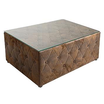 Design Chesterfield Couchtisch 100 Cm Braun Im Antik Look Mit Glasplatte Tisch Fusshocker Hocker Sitzhocker Wohnzimmertisch